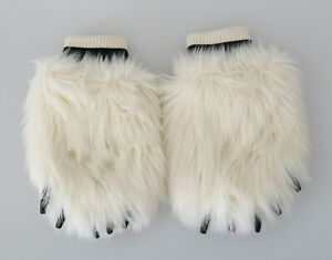 DOLCE & GABBANA Gloves White Paw Fur Knitted Elastic Wrist Band s. M RRP $400