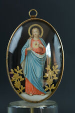19Thc  RELIGIOUS FRAME/ ORATORY SACRED HEART OF JESUS under a bubble glass