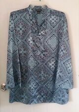 Women's Lane Bryant silky blouse size 26/28 blue brown long sleeves floral -218