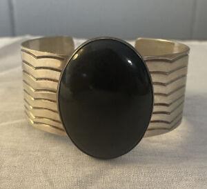 Vintage Navajo Southwestern sterling Silver & Onyx Cuff Bracelet signed A
