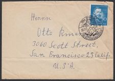 GERMANY, 1952. Cover Bund Mi161, Hameln - San Francisco