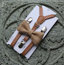 Set- Kids Boys Brown PU Leather Suspenders burlap wedding bow tie 12mo -5y