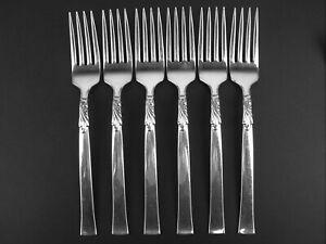 Set 6 x Dinner Forks Oneida Nobility Wind Song 1955 vintage silverplate Windsong