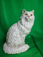 Vintage White Persian Kitten Cat Statue Universal Statuary Corp 1983 #533