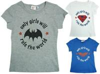 Girls Official DC Superhero Girls Rule the World Cotton T-Shirt Top 4 - 10 Years