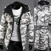 Men's Camo Jacket Outwear Coat Military Hooded Parka Zipper Padded Winter Warm