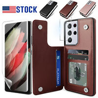For Samsung Galaxy S21 Ultra 5G / S20 FE Leather Wallet Case / Screen Protector
