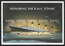 STAMPS-ST VINCENT. 1997. 85th Anniv of Sinking of Titanic Sheetlet. SG: 3867/71.