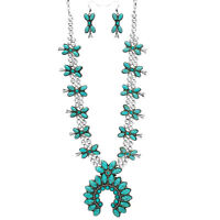 SQUASH BLOSSOM necklace set in turquoise and silver tone   24 INCH