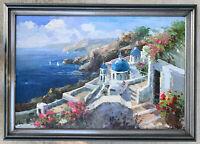 Original Antonio Oil Painting LARGE Signed Mediterranean Santorini, Greece