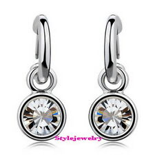 White Gold Filled Clear Round Drop Dangle Earring Made With Swarovski Crystal 4E