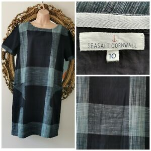 SEASALT Cornwall Cast Shadow Size 10 Blue Shift Dress 100% Cotton