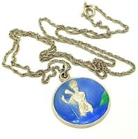 """Vintage Sterling Silver Enamel St. Christopher Pendant Necklace with 20"""" Chain"""