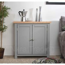 Richmond storage cupboard grey painted furniture with solid oak top