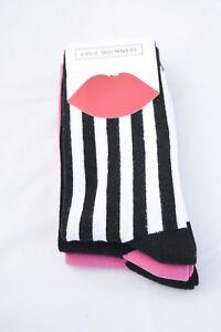 LULU GUINNESS ~ LIPS ~ Fashion ankle Socks pack of 3 ~  BNWT - 72% cotton O/S