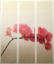 3teilig Schiebevorhang Orchidee Farbe lindgrün /rose/natur je B 60 x H 245cm