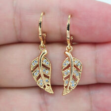 18K Yellow Gold Filled Women Clear Topaz Zircon Leaf Dangle Earrings