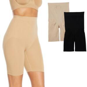 Rhonda Shear 2-pack Medium Support Longline Short Black/Nude 2X #659820 HSN