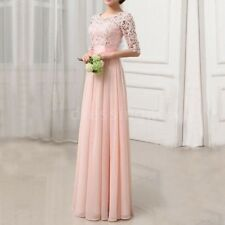 Women Dress Lace Half Sleeve Maxi Long Wedding Evening Party Dress