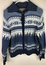 Mountain Lake Womens Petite Large Blue White ZIP Front Fair Isle Sweater