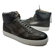 Magnanni Mens high Top Leather Sneakers gray leather lace Royal size 10 new