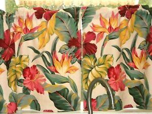 PAIR Tropical Hawaiian Cotton Barkcloth Fabric CAFE' CURTAINS ~Pau Hanna~