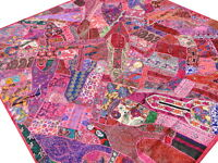 Quilt Patchwork Pink Queen Bed cover Bedspread Vintage Patches Handmade India A