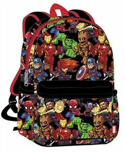 """Marvel Avengers Superhero Kids Backpack Hulk Spiderman Ironman Thor - Black 16"""""""