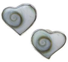 Par Damas SHIVA Ojo Cáscara corazón Stud Pendientes de plata esterlina 925 9.5mm