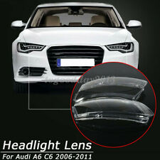 Pair For 06-11 Audi A6 C6 Car Headlight Lens Lampshade Right Left PC Shell Cover