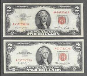 1953 & 1963 - ( 2 ) $2 VF * Fancy Bookend #S * Notes