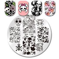 Nail Stamping Plate Skull Flower Design Born Pretty Nail Art Round Plate BP-146