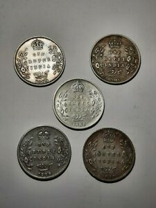 Five (5) British India / Edward VII silver 1 rupee coins, from 1905 to 1910