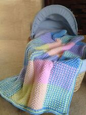 "Baby Blanket /Cot Cover ""Colourful squares"" Knitting Pattern  Aran 28x37"" 623"
