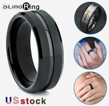 8/6mm Mens Silver Brushed Black edge Tungsten Ring Stripe Wedding Band Jewelry