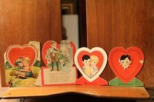 ca. 1900's Antique Valentine's Day Cards Die Cut Lot of 4 Stand Up