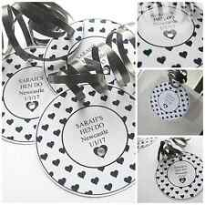 5 X HEN DO HEN PARTY PERSONALISED CRYSTAL GIFT TAGS & RIBBON BLACK HEART DESIGN