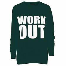 Womens Oversized Workout Print Pullover Sports Gym Wear Jumper Sweatshirt