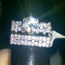 2 PIECE RING SET. MODERN DESIGN CREATED WHITE SAPPHIRES ON BOTH RINGS. SIZE T