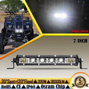 "7"" Ultra Thin LED Light Bar Spot Flood Combo for Polaris Ranger Yamaha UTV ATV"
