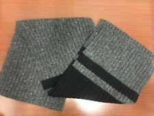 NEW BANANA REPUBLIC Men Womens RARE Donegal Wool Blend Scarf Grey Black Stripe