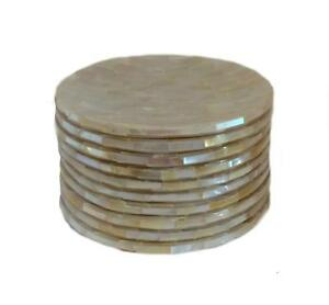 Set of 6 Mother of Pearl Round Plates