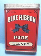 "Vintage ""BLUE RIBBON"" Brand Cloves Spice Tin   FREE SHIPPING"