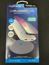 myCharge Unplugged Qi Wireless Dual USB Port 10000mAh Power Bank - White .. F4