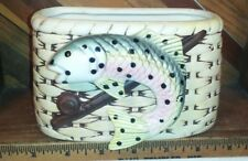 Vintage NAPCO Fish Basket Planter Rainbow Trout Ceramic Fishing Creel