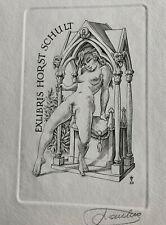 Frank Ivo van DAMME Gothic Girl Erotic Nude Exlibris Schult Copper Engraving #30