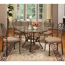 Dining Room Set 5 PC Faux Marble Table Top 4 Chairs Kitchen Dinette Furniture