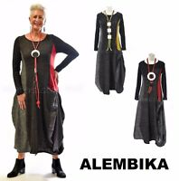 ALEMBIKA D222 Lagenlook  RONA DRESS  Patch Panel Tweed Knit  2017 FALL 2 Colors