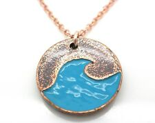 Blue Wave Pendant Women Necklace #Bluewave Copper Tone Enamel NEW Handmade