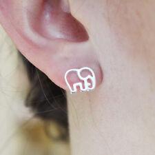 925 Sterling Silver Flat Paper Cutout Baby Elephant Studs Earrings Spiritual